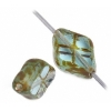 Fire polished 12x8mm Fancy Diamond Shape Strung Natural tr.aqua/brown Marble